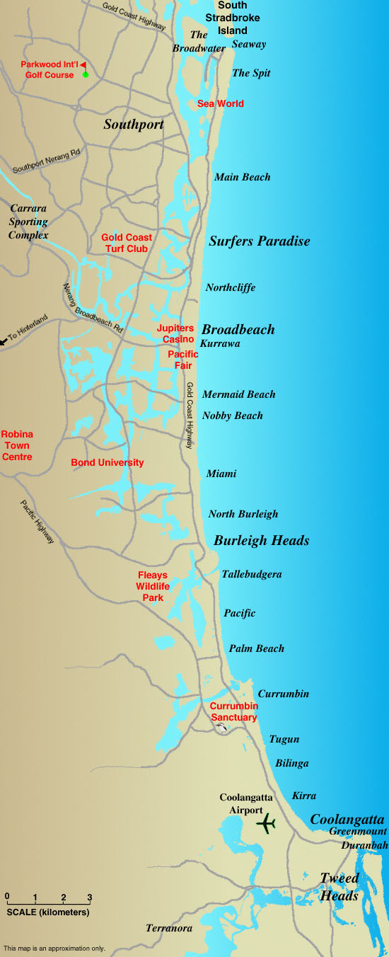Map of the Gold Coast